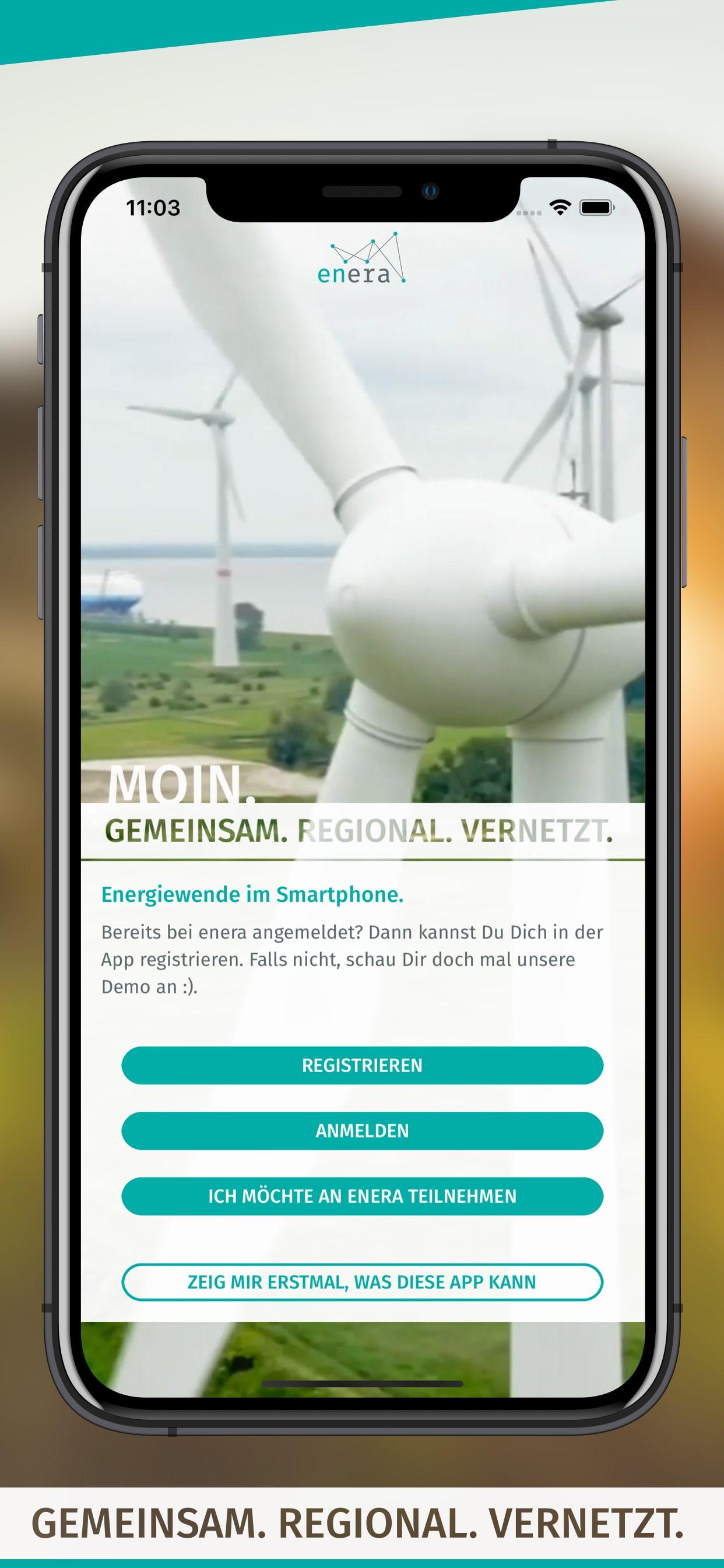 enera App Startscreen