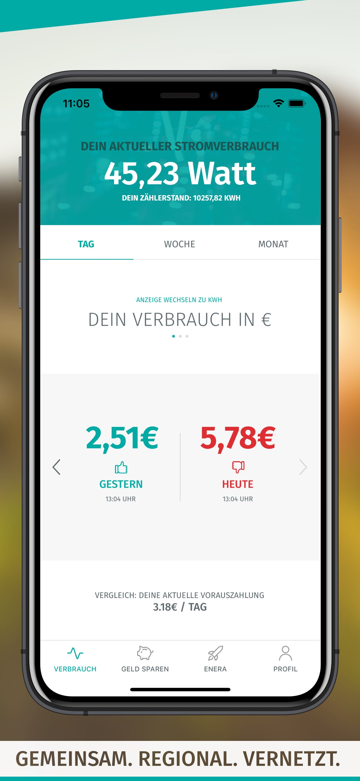 enera App-Screen-Verbrauch