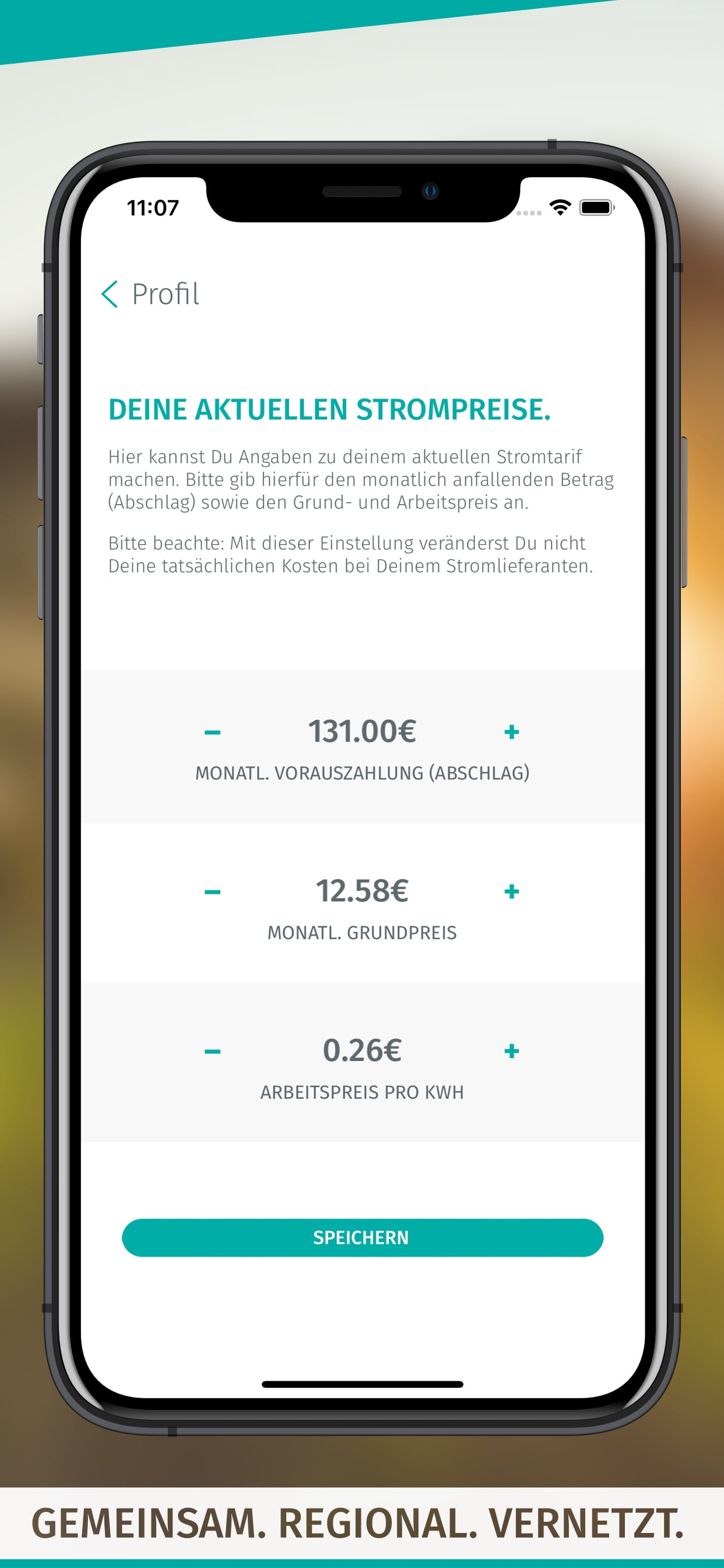 enera App-Screen-Einstellungen