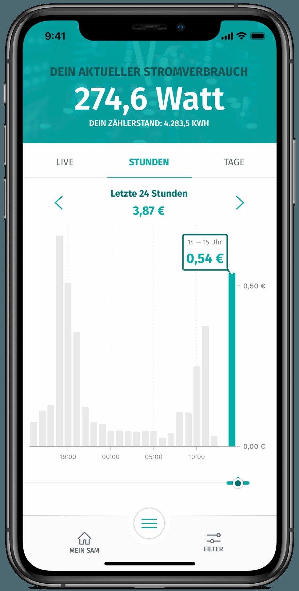 enera App in der Stundenübersicht