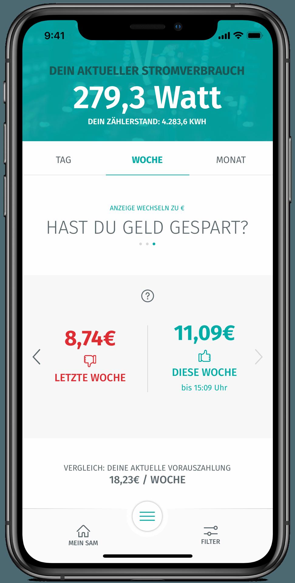 enera App-Wochenübersicht-Ersparnis