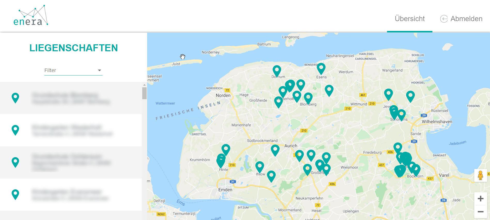 Darstellung des Liegenschaften in der enera Webanwendung für die Energiewende-Kommunen