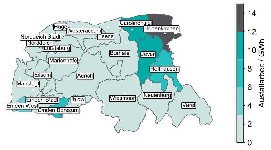 Netzdienlicher Flexibilitätsbedarf je Mittelspannungs-Versorgungsbezirk der enera-Region im Jahr 2016