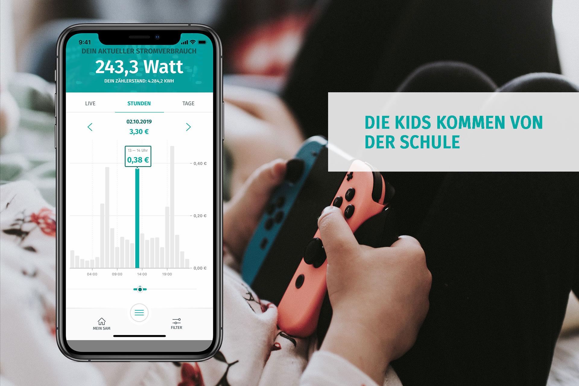 Die enera App zeigt den Stromverbrauch mittags